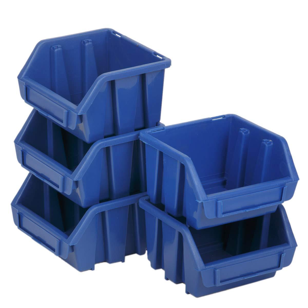1 Stü ck Blau stabile Schraubenkisten Kleinteilebox Werkstattkiste Sichtlagerbox myBoxshop PL1-6035