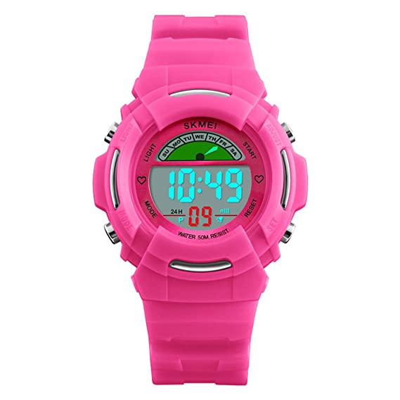 Reloj luminoso impermeable para niñas, reloj despertador para actividades al aire libre, hora de