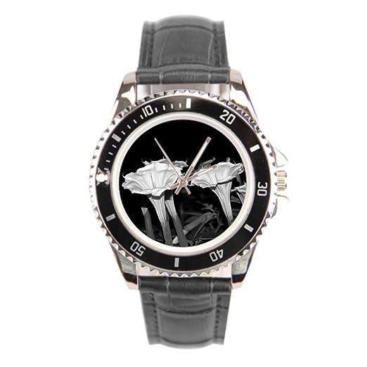 kosmore luna flores relojes para hombres correa de cuero flor para hombre piel relojes baratos: Amazon.es: Relojes
