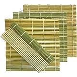 "Pack of 4 Flat Green Bamboo Sushi Roll Mats - 9.5"" x 9.5"" - Comes with Custom Dough Scraper"