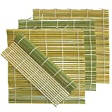 Flat Green Bamboo Sushi Roll Mats, 9.5 Inch by 9.5 Inch with Pan or Dough Scraper, 4 Pack
