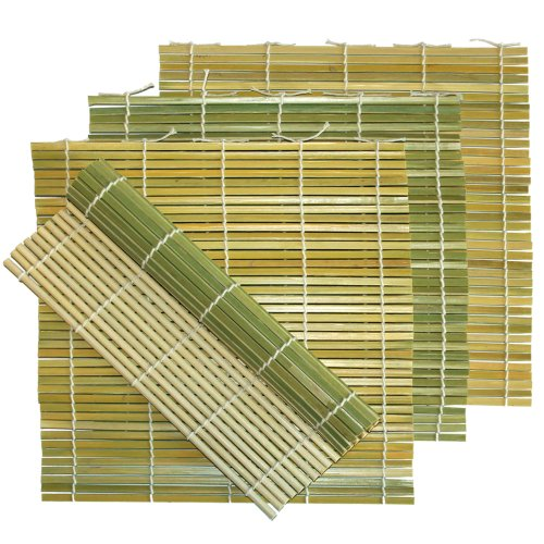 Flat Green Bamboo Sushi Roll Mats, 9.5 Inch by 9.5 Inch with Pan Scraper, 4 Pack