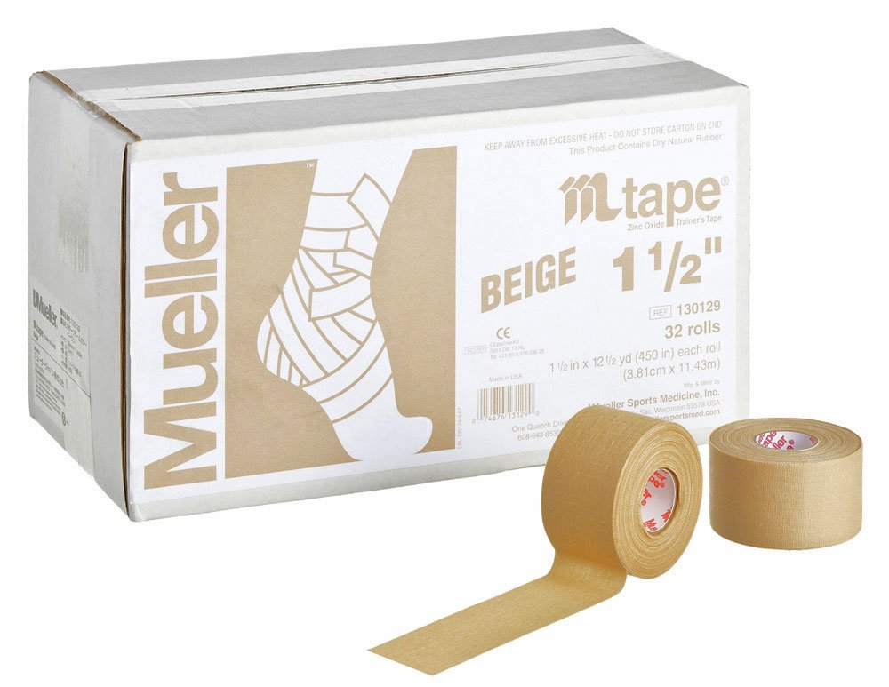 M-Tape Colored Athletic Tape - 1.5 inches x 10 yards - Beige, 32 Rolls