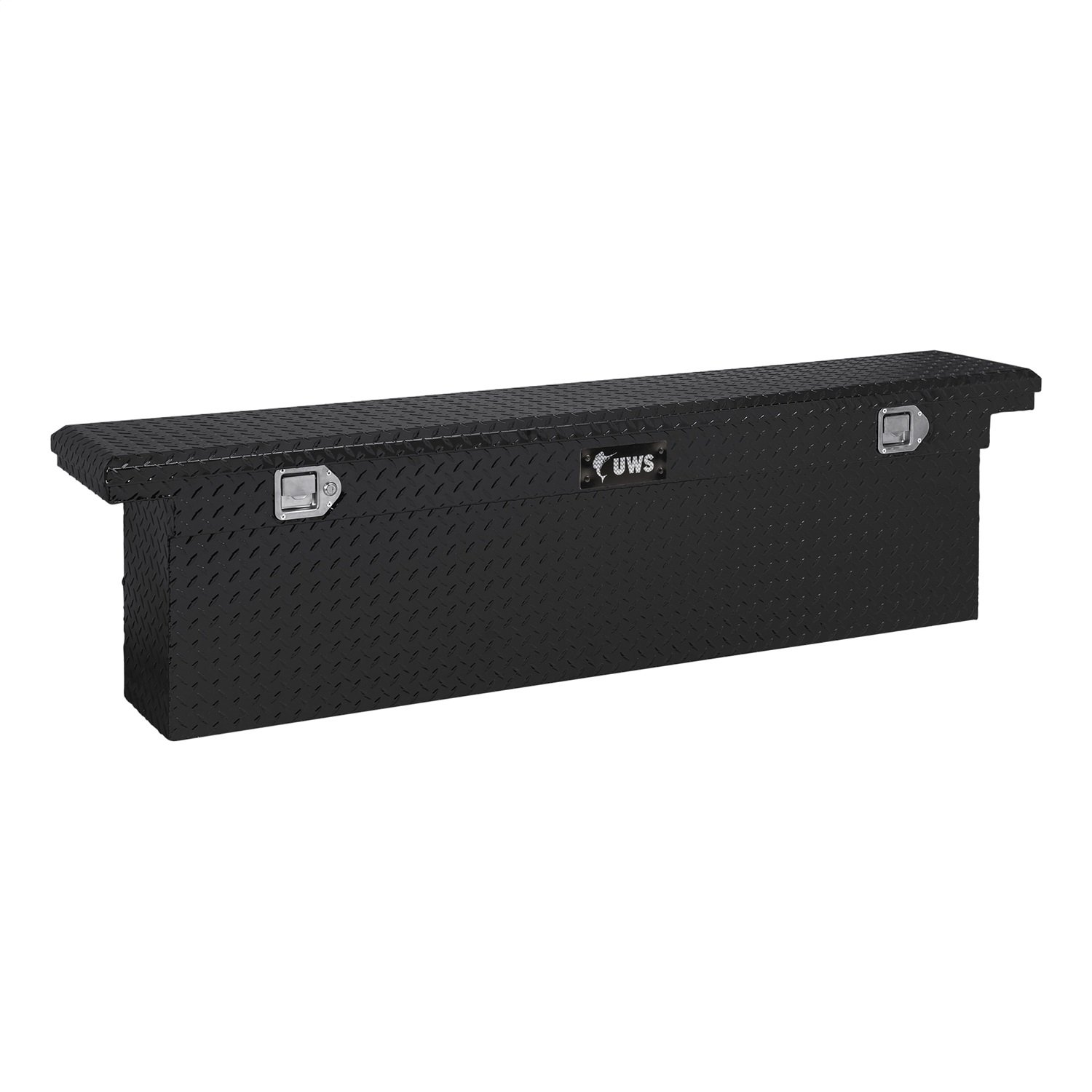UWS TBSD-72-SL-LP-BLK Black 72 Single Lid Slim Line Deep Low Profile Crossover Tool Box with Beveled Insulated Lid