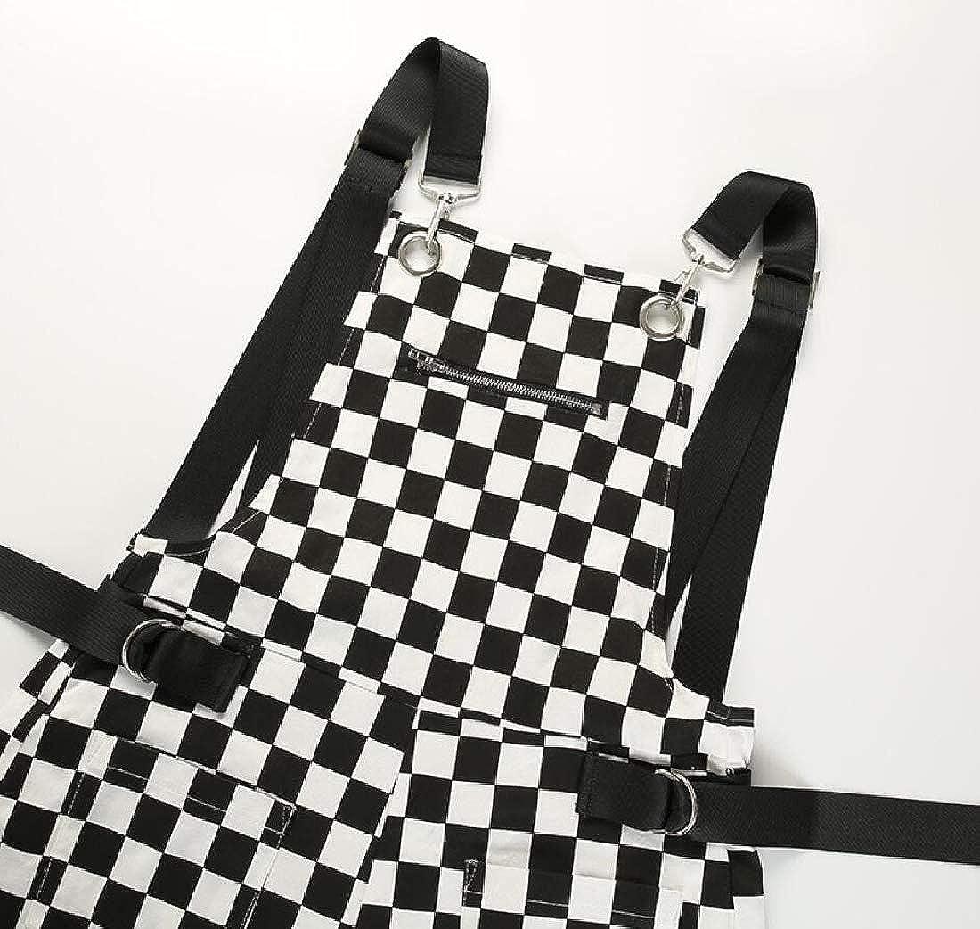 HANA+DORA Womens Adjustable Strap Overalls Checkerboard Jumpsuit Short Pants
