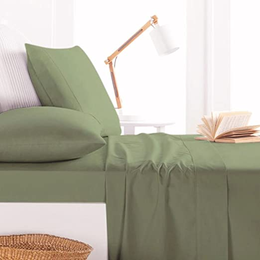 Moss Solid Egyptian Cotton 1000TC Bedding Sheet Set//Fitted//Flat//Duvet All Size