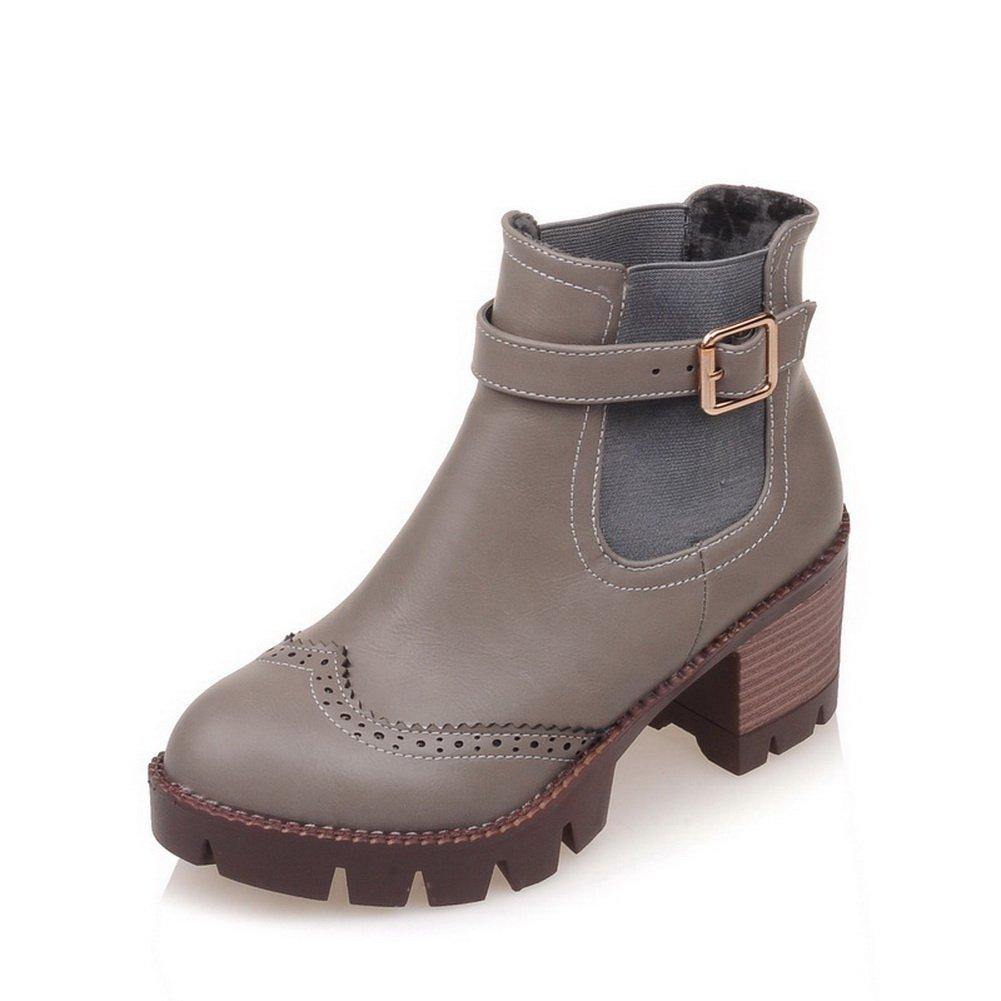 AdeeSu Womens Leather Buckle Round Toe Romanesque Style Imitated Leather Womens Boots B06VYBPZMQ Platform 20c02b