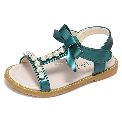 ebe0c05587 Amazon.com: Infant Toddler Baby Girls Sandals Bowknot Pearl Crystal ...