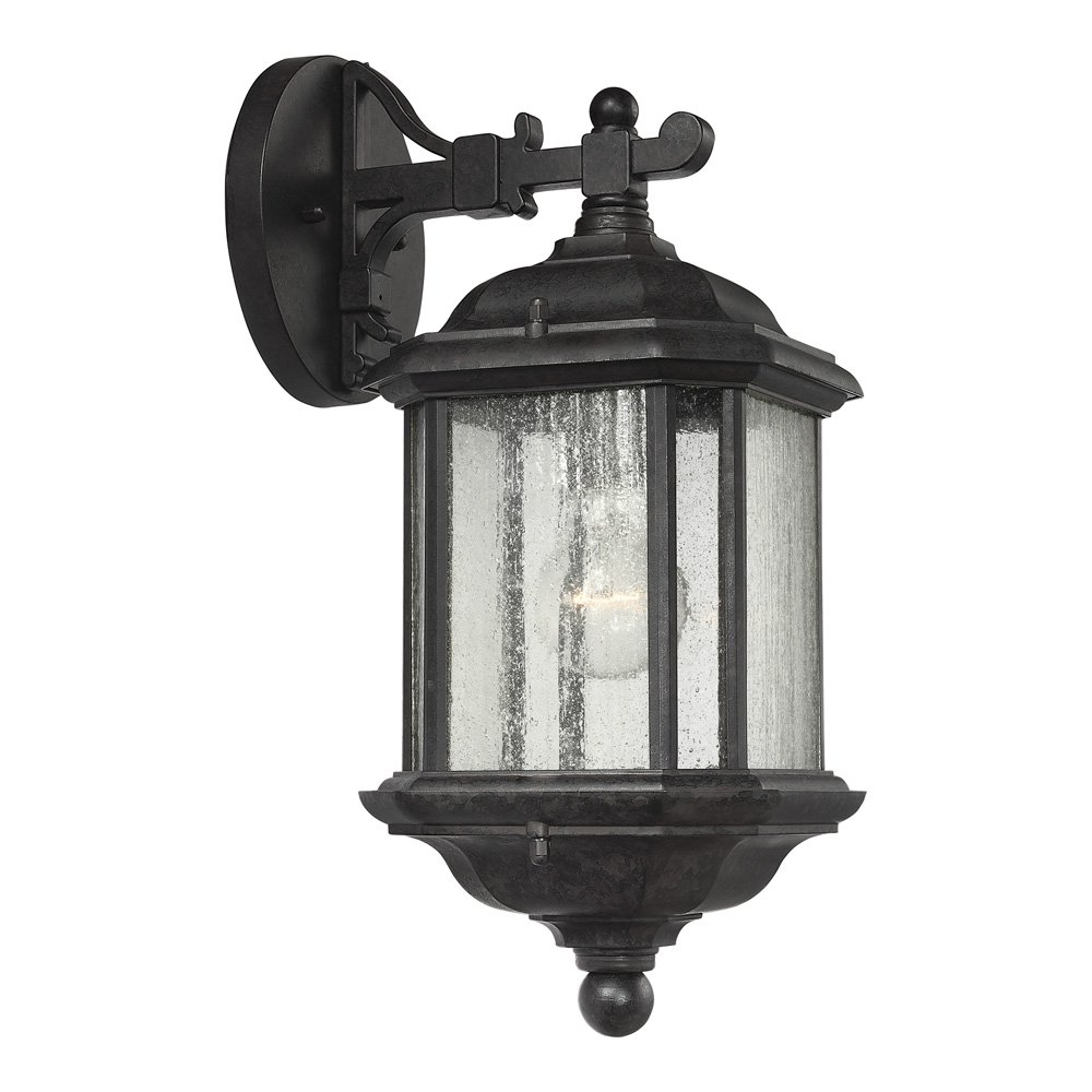 Sea Gull Lighting 84030-746 Kent One-Light Outdoor Wall Lantern with Clear Seeded Glass Panels, Oxford Bronze Finish by Sea Gull Lighting