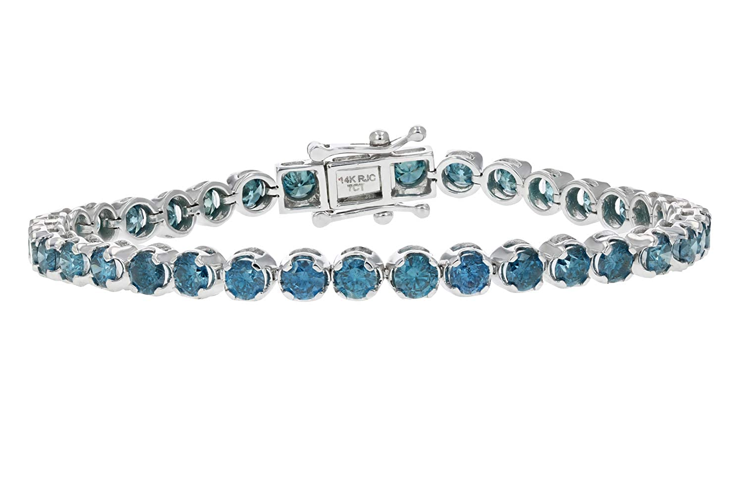 096f8883094d0 Amazon.com: 8 CT 14K White Gold Blue Diamond Bracelet: Jewelry