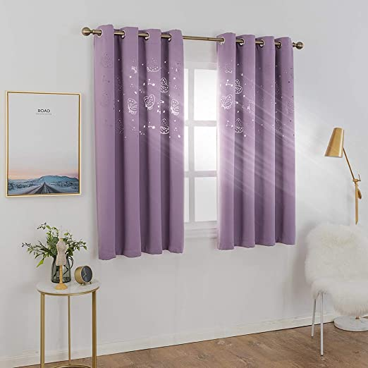 Nicetown Children Window Darkening Curtains Bedroom Star Cutouts Starry Night Magical Drape Panels For Girls Princess Themed Rooms Nursery Room Lavender Pink Baby Pink 42 X 63 2 Pieces