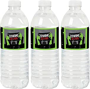 Big Dot of Happiness Zombie Zone - Halloween or Birthday Zombie Crawl Party Water Bottle Sticker Labels - Set of 20