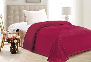 Hours Soft Fur Blanket, King Size 200X220 cm, Sarah-12, Red, Faux Fur