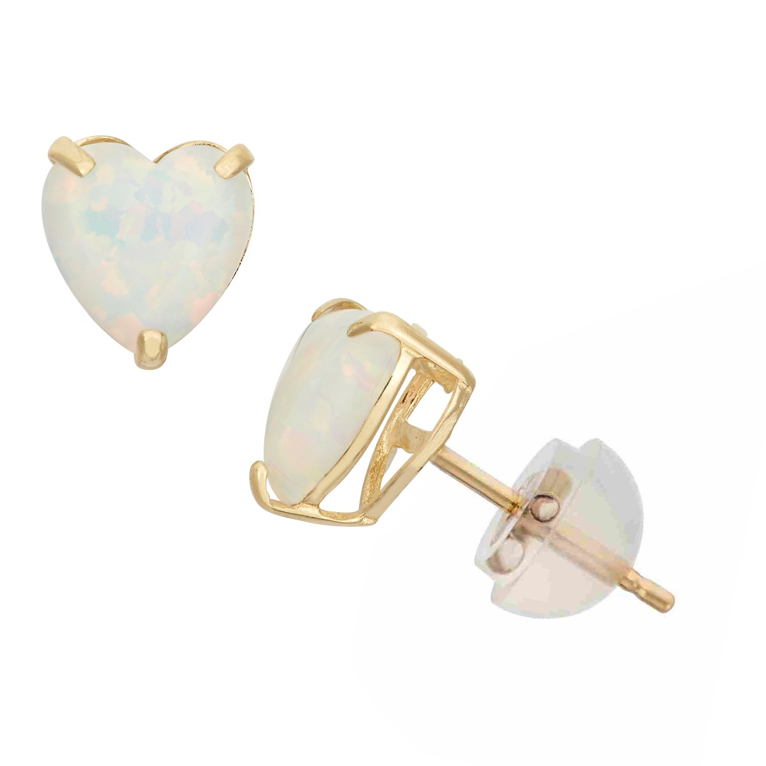 Synthetic Opal Heart Shape Stud Earrings in 10K Yellow Gold, 6mm, Comfort Fit