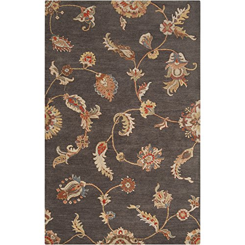 Surya Langley LAG-1013 Transitional Hand Tufted 100% Wool Espresso 9' x 13' Floral Area Rug Cocoa Wool Area Rug