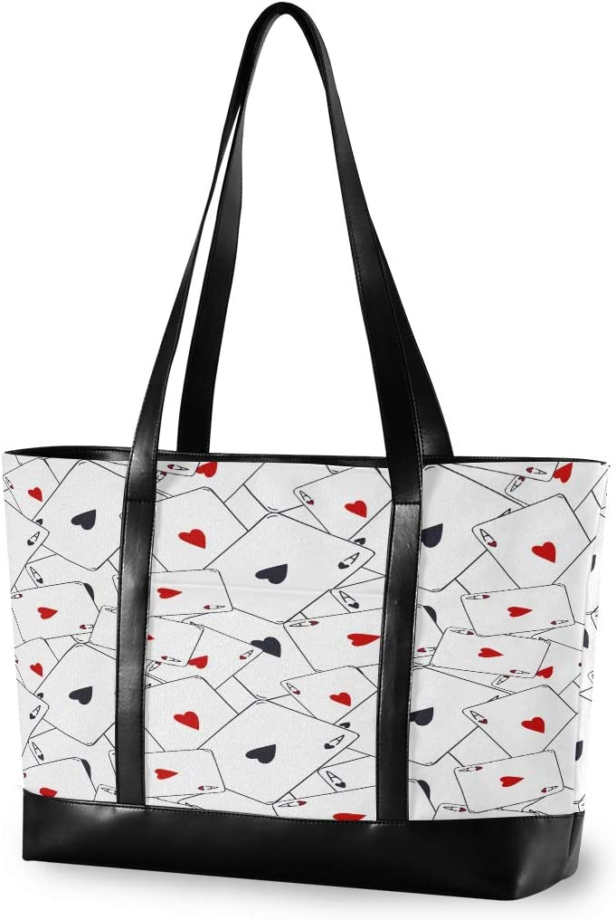 Red Black Hearts Card Game Canvas Shoulder Tote Bag Fit 15.6 Inch Computer Ladies Briefcase for Work School Hiking Large Woman Laptop Tote Bag