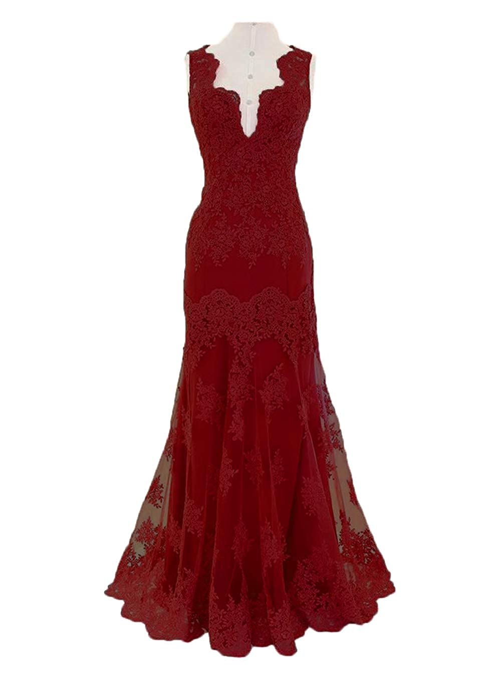 Burgundy alilith.Z Sexy V Neck Prom Dresses Mermaid 2019 Appliques Lace Long Formal Evening Dresses Party Gowns for Women