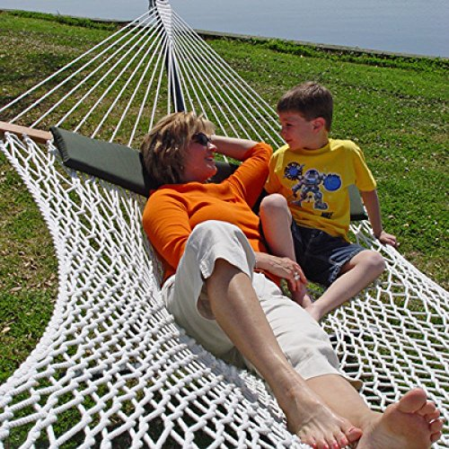 Captain's Line Deluxe Cotton Rope Hammock and Green Pillow