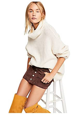 ccf518755 Free People Women's Joanie Corduory High Waisted Mini Skirt (Chocolate  Brown, Size 27,