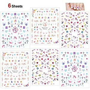 Konsait Unicorn Nail Stickers Decals (500+Designs), 3D Nail Art Stickers Self-adhesive Nail Tips Decorations for Kids Women Girls Unicorn Gift Birthday Party Bag Filler