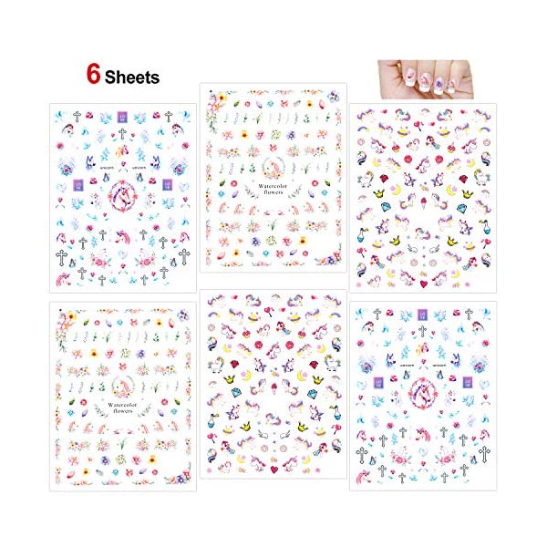 Konsait Unicorn Nail Stickers Decals (500+Designs), 3D Nail Art Stickers Self-adhesive Nail Tips Decorations for Kids… 3