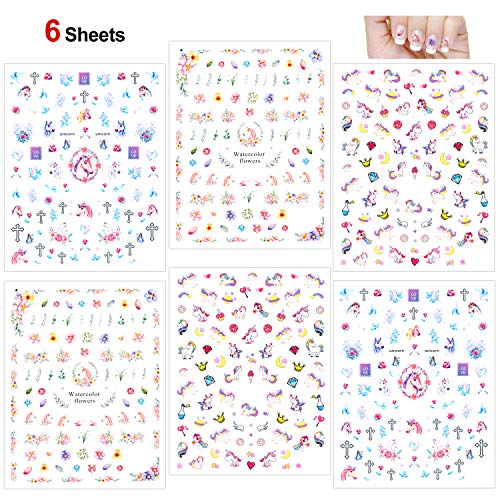 Konsait Unicorn Nail Stickers Decals (500+Designs), 3D Nail Art Stickers Self-adhesive Nail Tips Decorations for Kids Women Girls Unicorn Gift Birthday Party Bag Filler ()