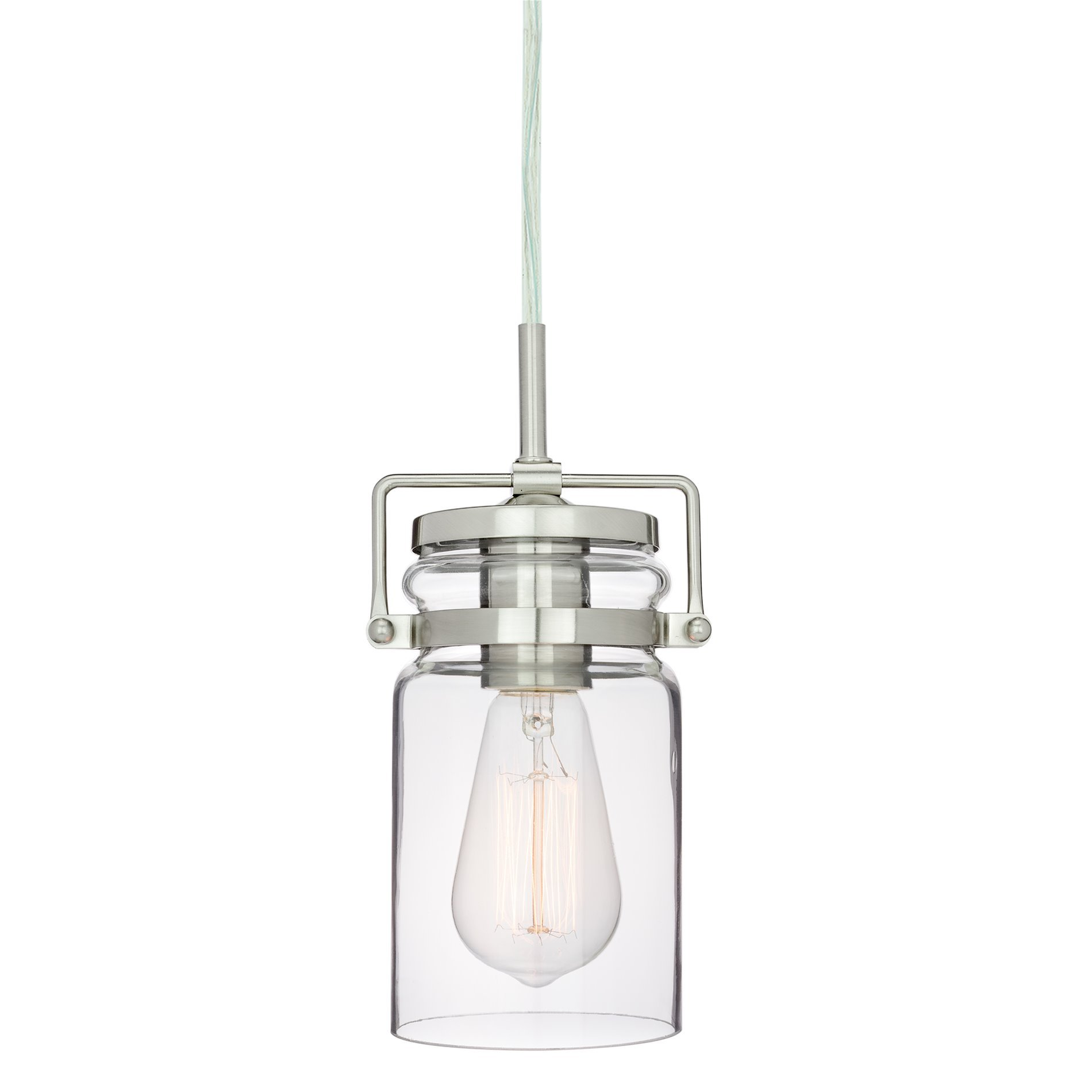Revel Wyer 8'' Modern Industrial Mini Glass Jar Wired Pendant Light, Energy Efficient, Eco-Friendly, Brushed Nickel Finish
