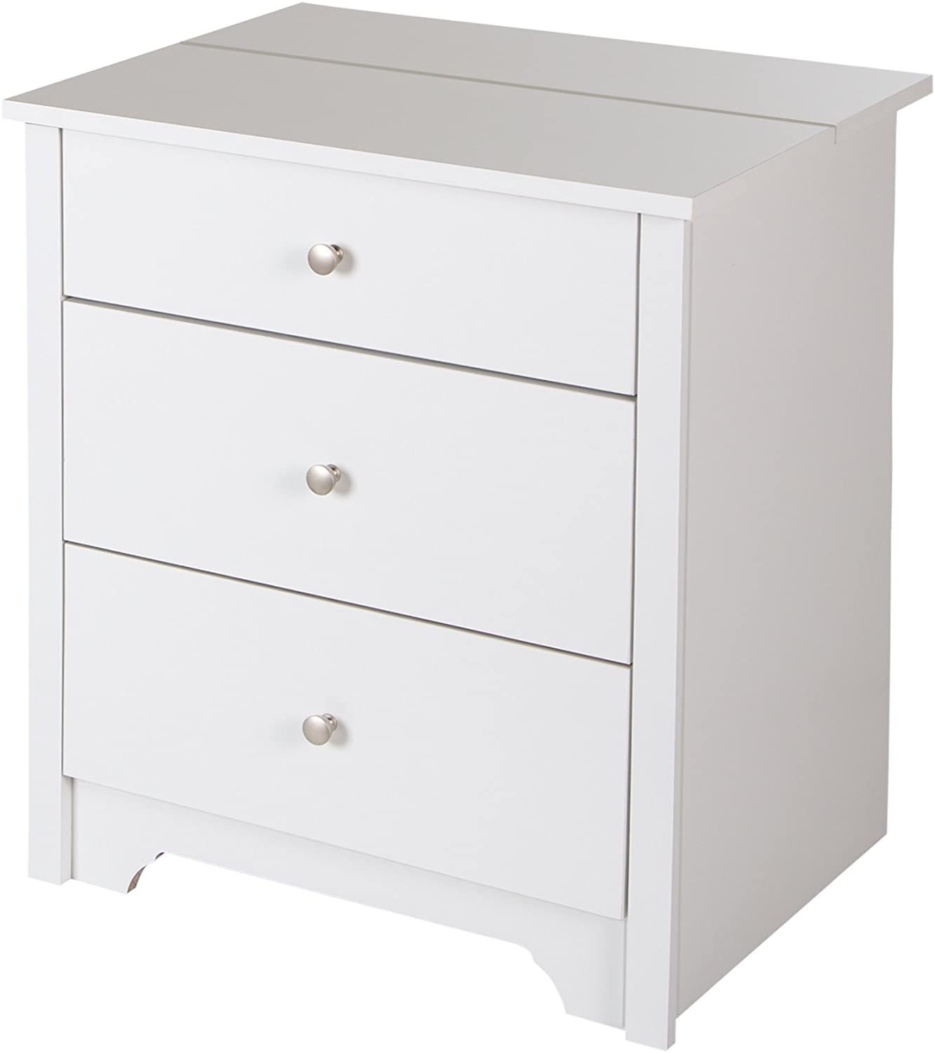 South Shore Vito Nightstand with 2 Drawers and Charging Station, Pure White