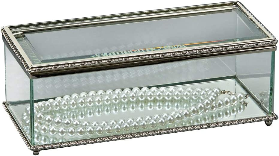 I36 Very Beautiful Beveled Glass trinket bronze metal Jewelry box keepsake