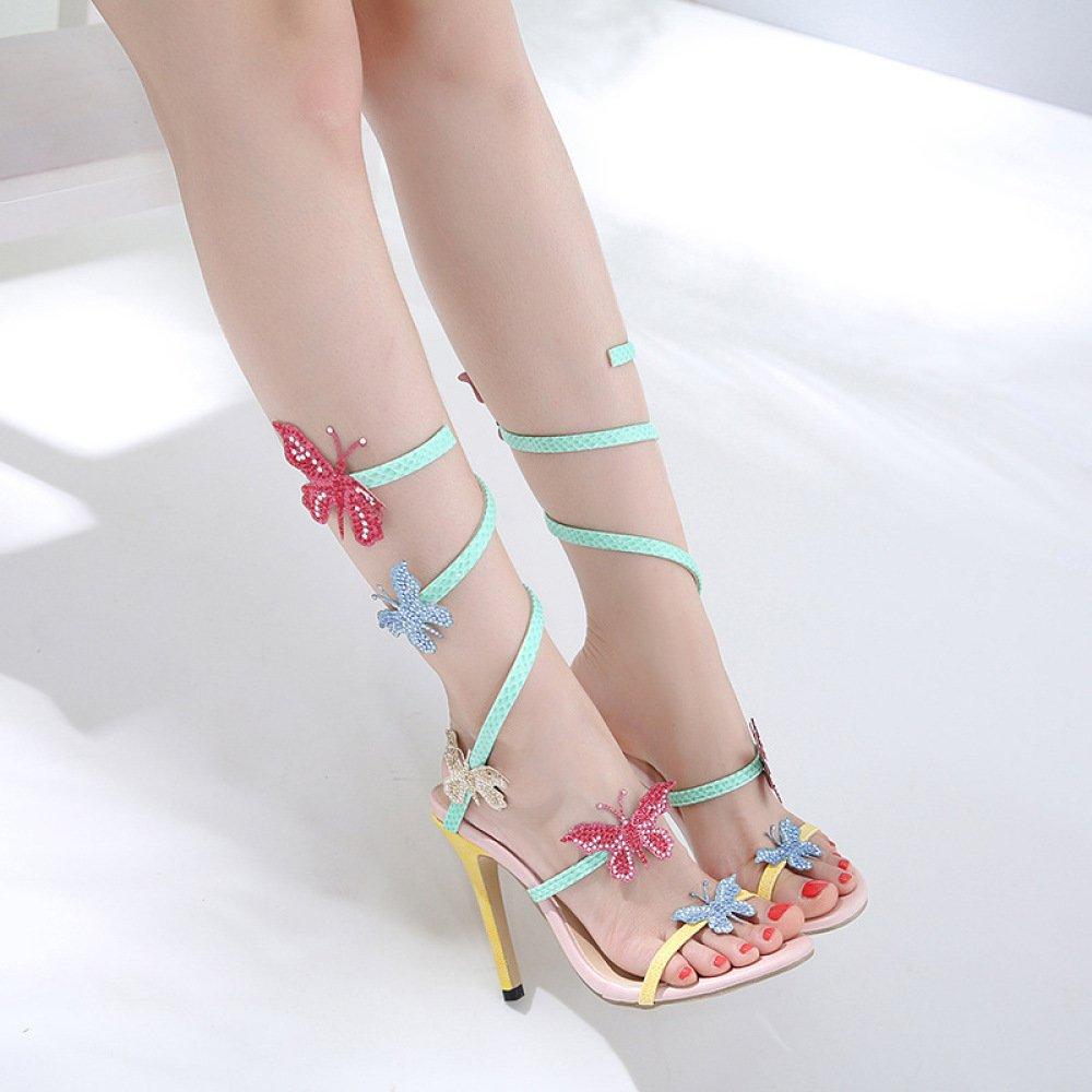 Frauen Peep Toe Stiletto High Heels Schmetterling Schmetterling Schmetterling Sandalen Hochzeit Brautschuhe a54f37