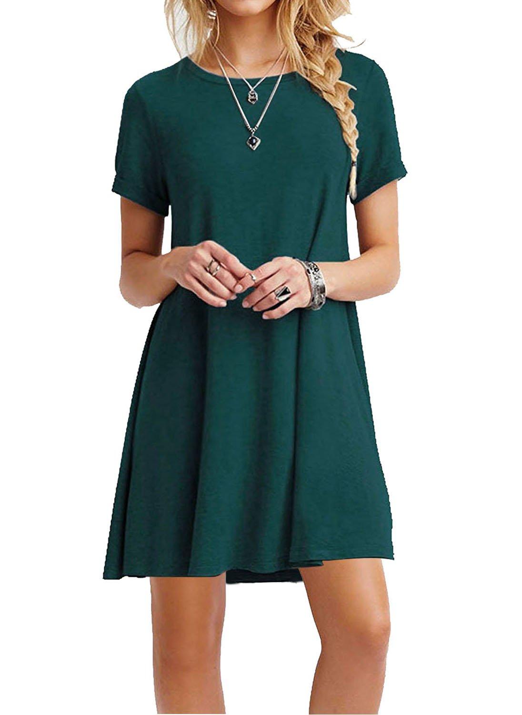 MOLERANI Women's Casual Plain Simple T-Shirt Loose Dress (L, Short Sleeve-Dark Green)