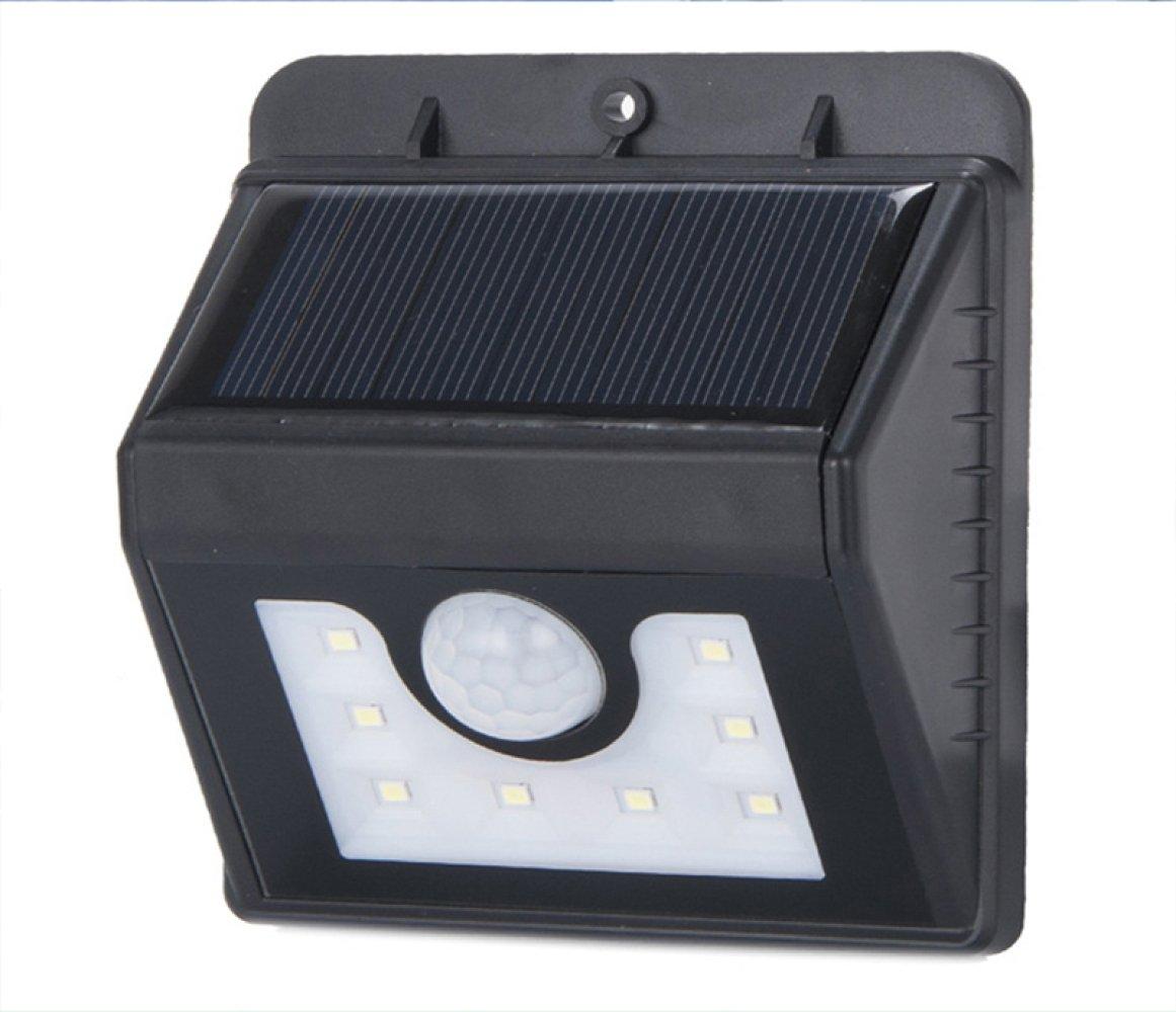 MOMO Solar lights body sensor lights garden lights Western 8LED wall lamp waterproof,black,One size