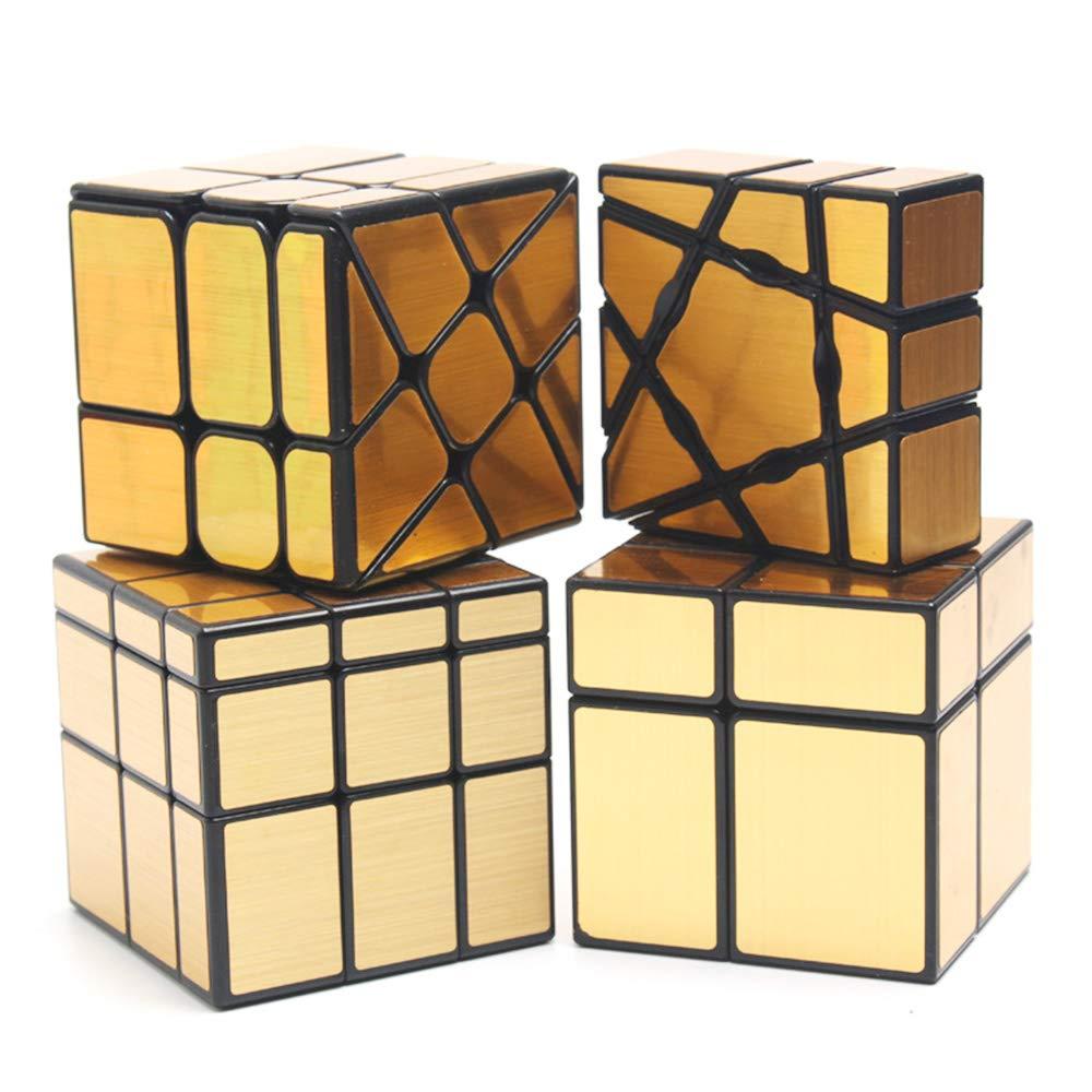 HJXDtech 4 Pack Geschwindigkeits-Würfel-Bündel 1x3x3 Geisterwürfel + 2x2x2 & 3x3x3 Spiegelwürfel + Radwürfel Irregulärer Spiegel Aufkleber Zauberwürfel Set (Gold)