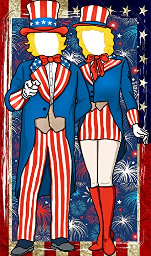 Patriotic Fourth of July Uncle Sam Photo Door Banner Backdrop Props- 4th of July Party Favors Supplies Decorations]()