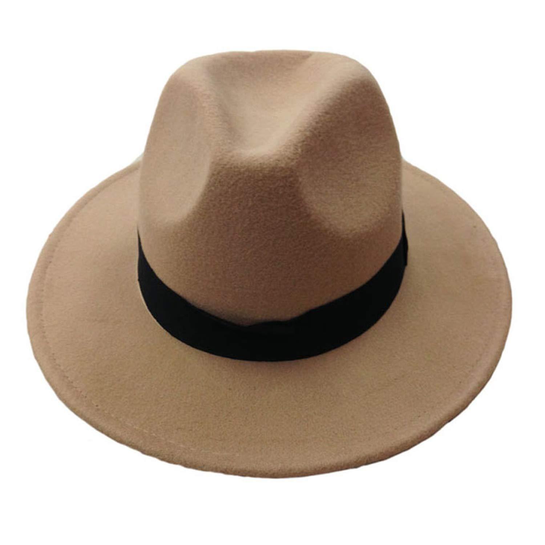 Soft Women Vintage Wide Brim Wool Felt Bowler Fedora Hat Floppy Cloche Womens Large Hat Men Trilby