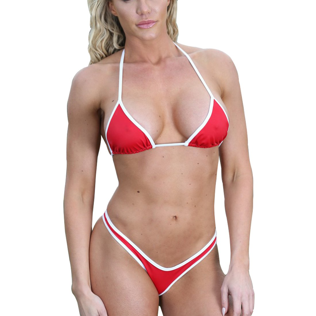 SHERRYLO Triangle Top & Thong Bottom Bikini Set White Red Trim Bathing Suit 17173-Redwhite-M