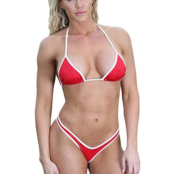 835bac086f7 SHERRYLO Triangle Top & Thong Bottom Bikini Set White Red Trim Bathing Suit:  Amazon.ca: Clothing & Accessories