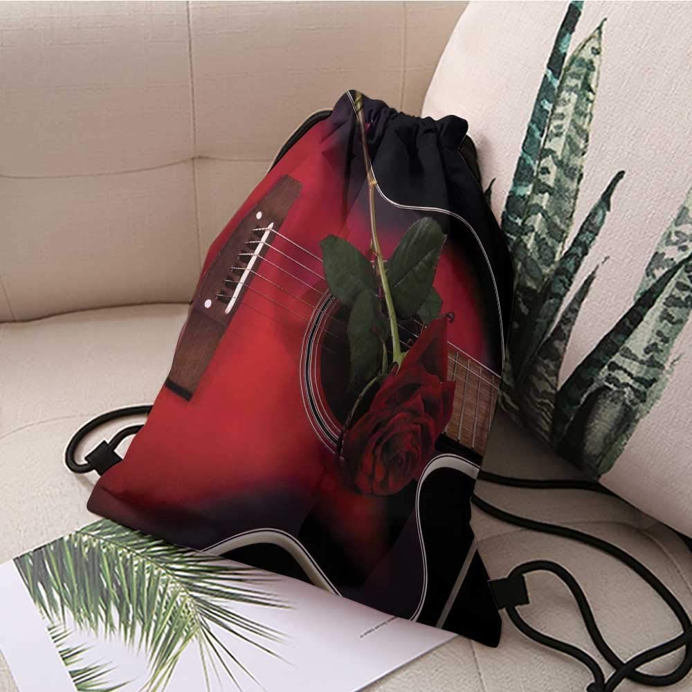 Large Red Valentine Rose Drawstring Backpack Sports Athletic Gym Cinch Sack String Storage Bags for Hiking Travel Beach