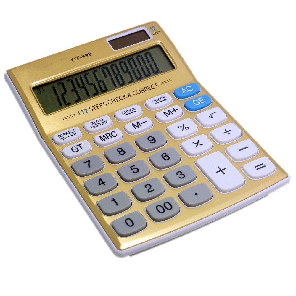 Tinhofire Gold 12 digits Office calculator computer Solar Calculator CT-990 Size 18.7 x 13.7cm