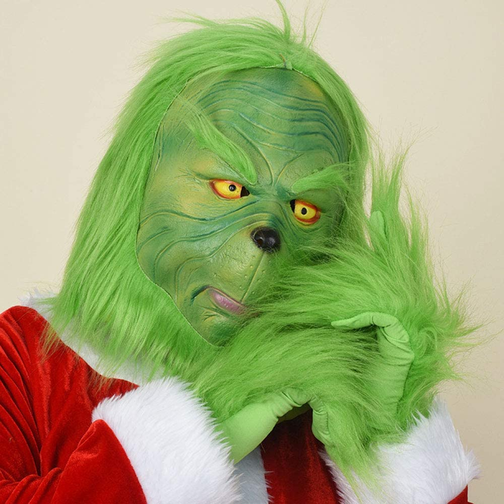 Adult /& Kid Santa Grinch Costume Christmas Cosplay Outfit Full Set with Grinch Mask and Gloves Accessory