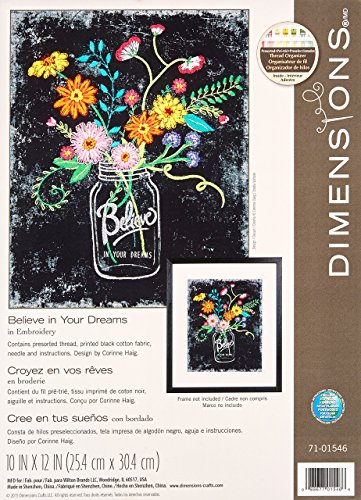Dimensions 71-01546 Believe in Your Dreams Floral Embroidery Kit,  10