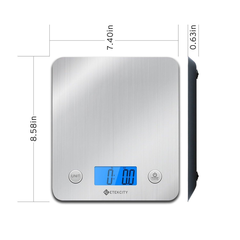 Etekcity EK6211 Digital Kitchen Multifunction Food Scale with Large Platform 11lb 5kg, Batteries Included (Stainless Steel) by Etekcity (Image #4)
