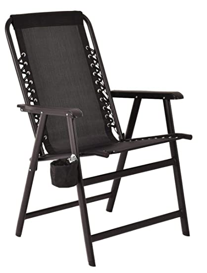 fc69c5d9ef Amazon.com : Black Folding Outdoor Arm Chair Steel Frame W/ Cup ...