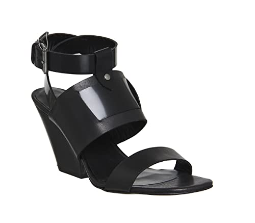 d40934461 Poste Mistress Nyla Block Heel Sandal Black Leather Wood Heel - 6 UK ...