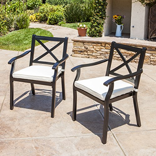 GDF Studio Eowyn Outdoor Cast Aluminum Dining Chairs w Water Resistant Cushions Set of 2