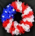 American Flag Fourth of July Mesh Door Wreath; red white blue