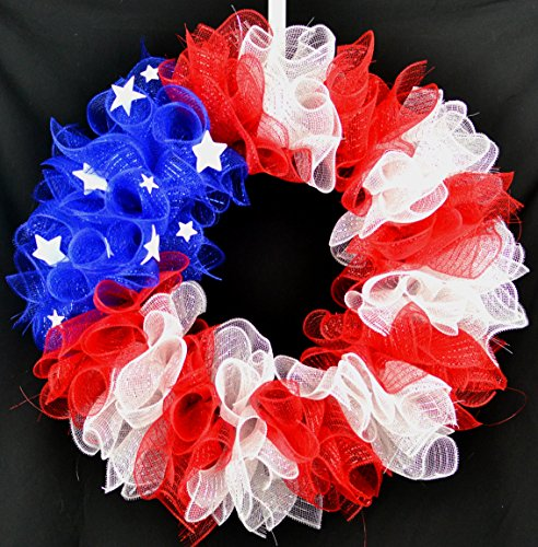 American Flag Fourth of July Mesh Door Wreath; red white blue (Wreath Form Deco Mesh)