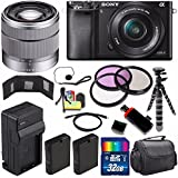 Sony Alpha a6000 Mirrorless Digital Camera with 16-50mm Lens (Black) + Sony SEL 1855 18-55mm Zoom Lens + 32GB Bundle 14 - International Version (No Warranty)