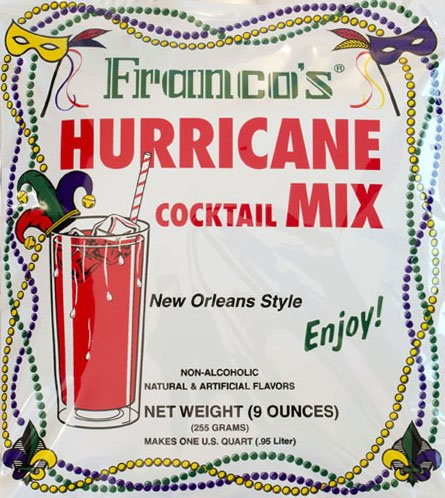 - Franco's New Orleans Style Hurricane Cocktail Mix, 9 Ounces - Makes 1 Quart (Packaging May Vary)