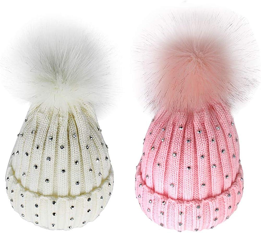 Toddler Kids Baby Girls Winter Warm Crochet Knit Hat Bow Fur Pom Pom Beanie Cap